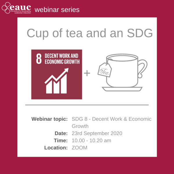 Cup of tea and an SDG 2020 - Goal 8 – Decent Work & Economic Growth