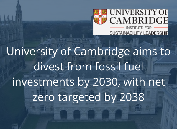 """Cambridge to divest from fossil fuels with """"net zero"""" plan"""