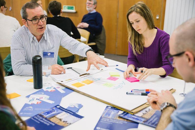 Stuart McLean, Procurement Office, and Liz Cooper, SRS Department, at a staff/student planning workshop